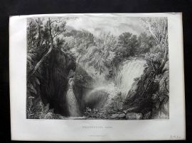 After Turner 1875 Art Journal Print. Weathercote Cave, Chapel-le-Dale, Yorkshire